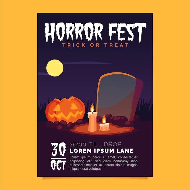 Плакат хэллоуина в плоском дизайне Бесплатные векторы