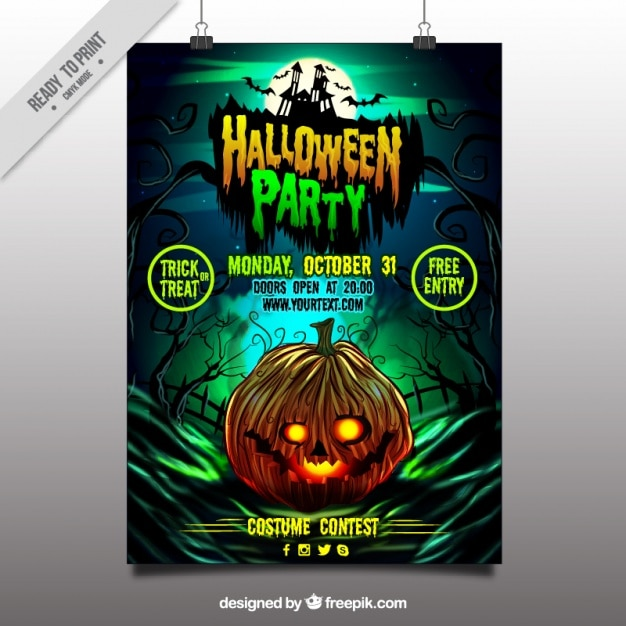 Halloween party poster of pumpkin Free Vector