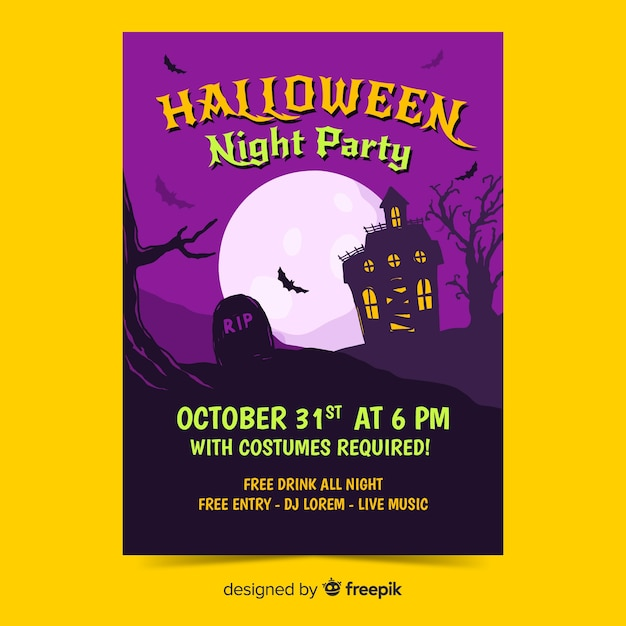 Halloween party poster template flat design Free Vector
