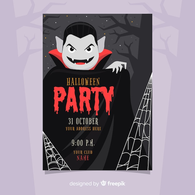 Halloween party poster template flat design Vector | Free