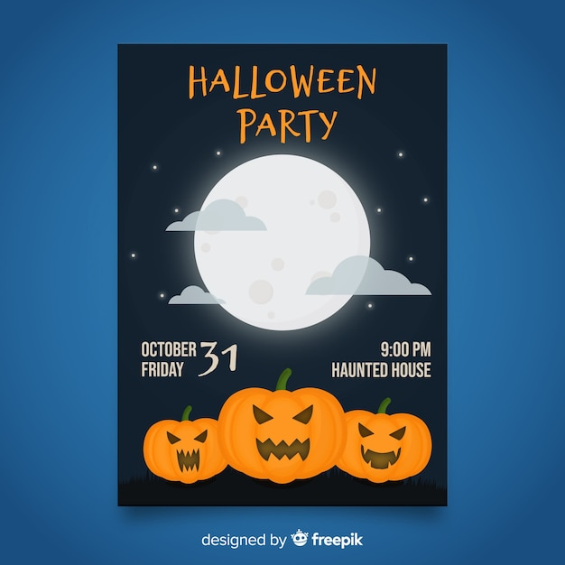 Halloween party poster template on flat design Free Vector