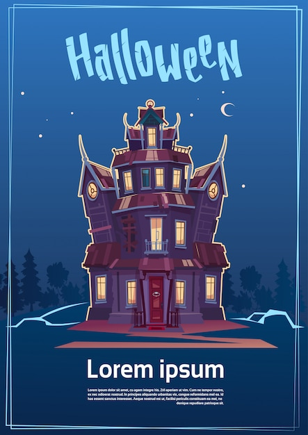 Halloween party poster template. gothic castle in moonlight Premium Vector