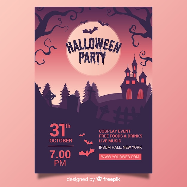 Halloween party poster template hand drawn design Free Vector