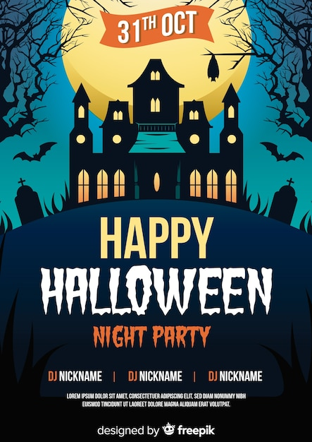 Halloween party poster template with haunted house Premium Vector