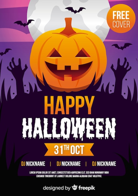 Halloween party poster template with pumpkin and zombie hands Premium Vector