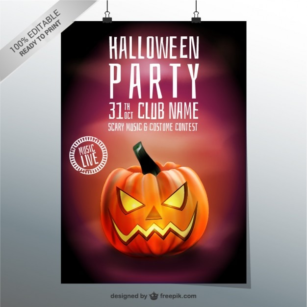 Halloween party poster template with pumpkin Free Vector