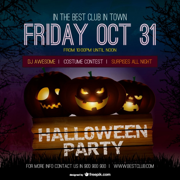 Halloween party poster template with pumpkins Free Vector