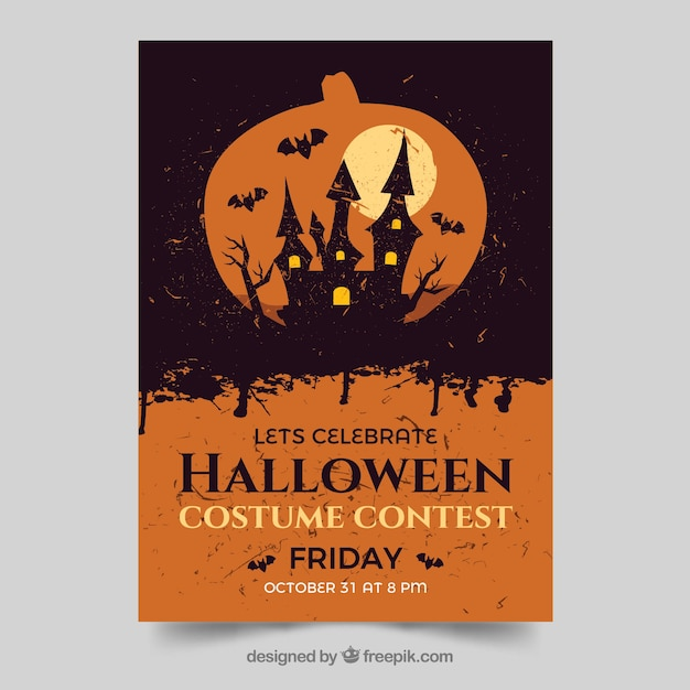 halloween party poster template with vintage style vector free