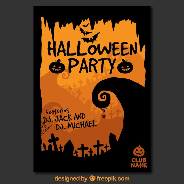 halloween party poster template vector free download. Black Bedroom Furniture Sets. Home Design Ideas