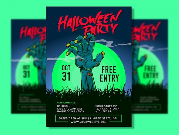 Halloween party poster template Premium Vector