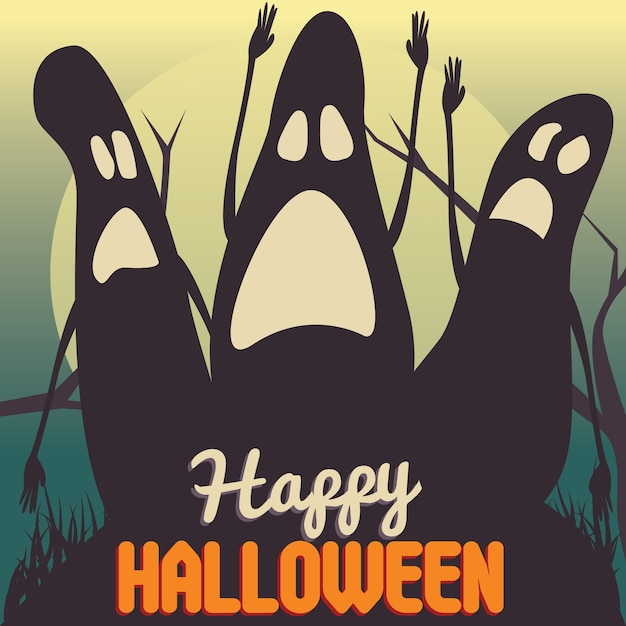 Halloween party poster vector illustration with ghosts Premium Vector
