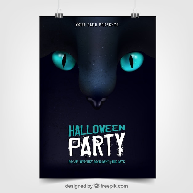 Halloween party poster with black cat Free Vector