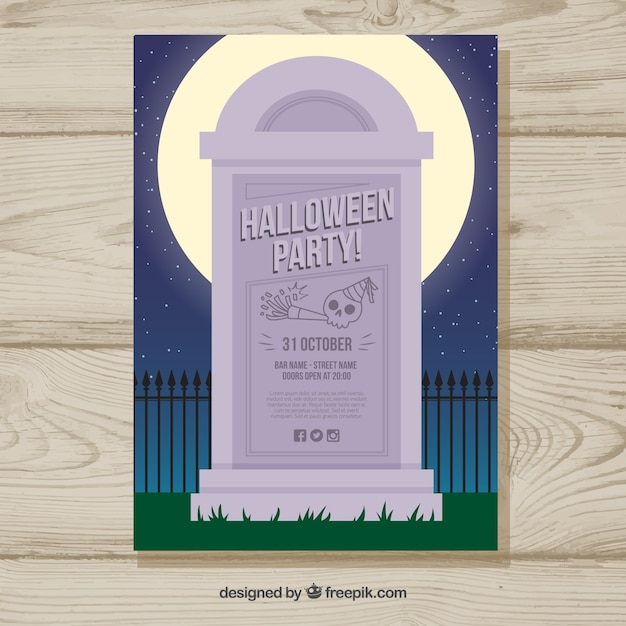 Halloween party poster with gravestone Free Vector