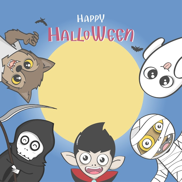 Halloween Party Poster With Group Of Cute Halloween Costume