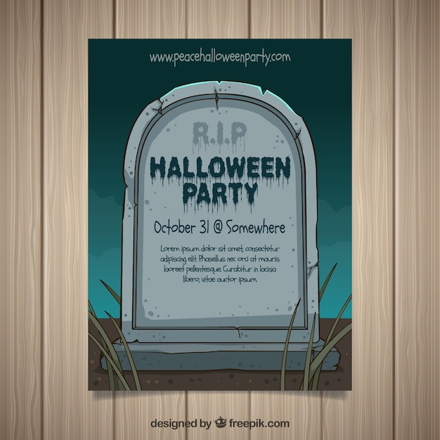 Halloween party poster with hand drawn gravestone Free Vector