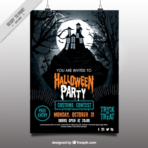Halloween party poster with haunted house Free Vector