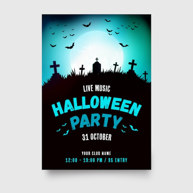 Halloween party poster with modern design Free Vector