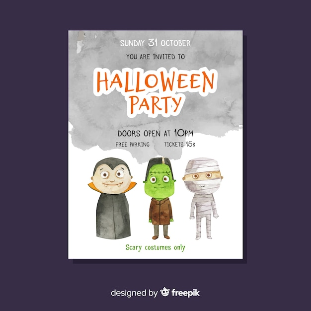 Halloween party poster with monsters Free Vector