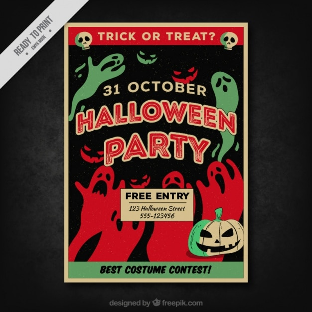 Halloween party poster with red and green ghosts Free Vector
