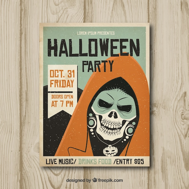 Halloween party poster with vintage skeleton Free Vector