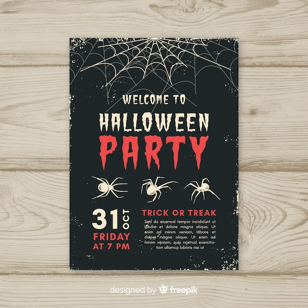 Halloween party poster with vintage style Free Vector