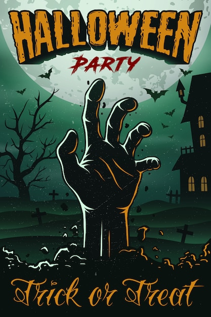 Halloween party poster with zombie hand, house, tree and bats Premium Vector