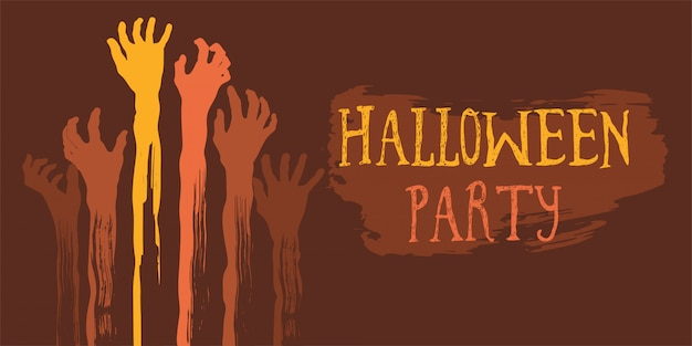 Halloween party poster with zombie s hand Premium Vector