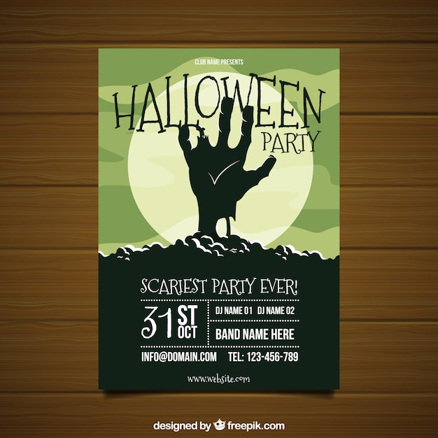 Halloween party poster with zombie's hand Vector | Free Download