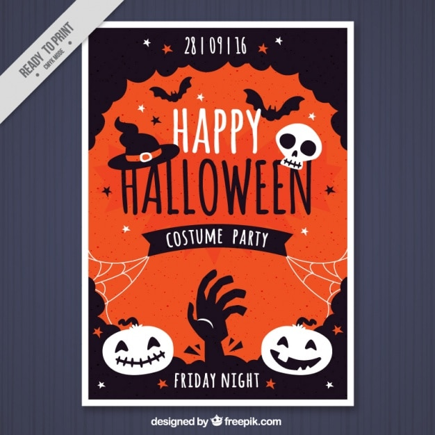 halloween party template in vintage style vector free download