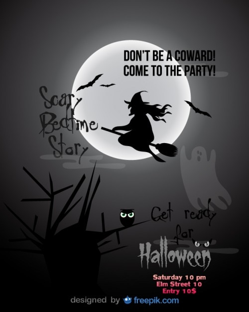 Halloween Party Template Of Flying Witch Vector | Free Download