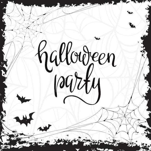Halloween party template typography elements. Free Vector