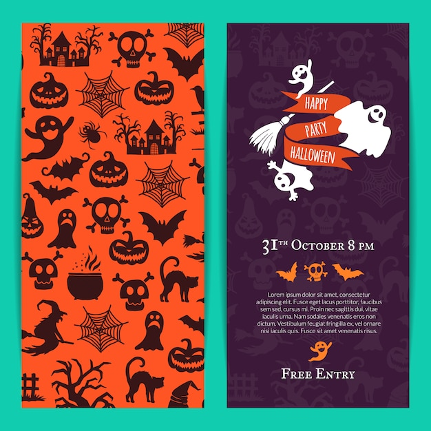 Halloween party thin invitation card Premium Vector