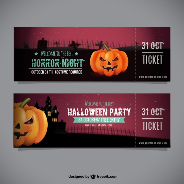 halloween party ticket template vector free download