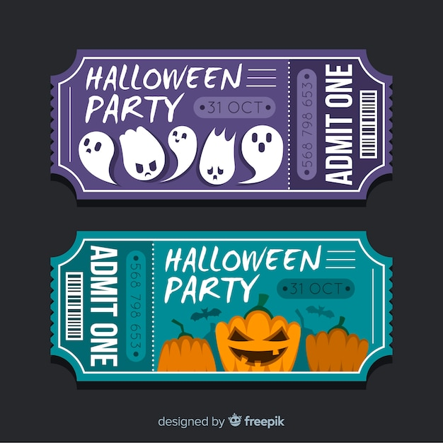 Halloween party tickets on flat design Free Vector