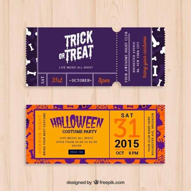 Halloween Party Tickets Vector