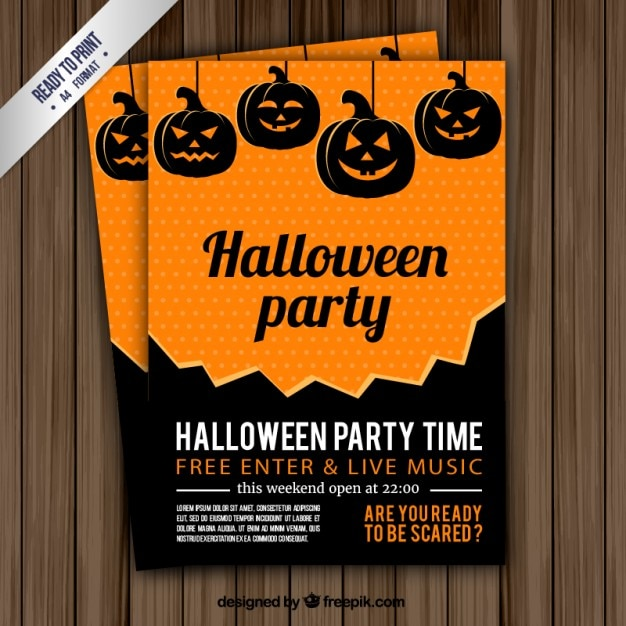 Halloween party time flyer Free Vector