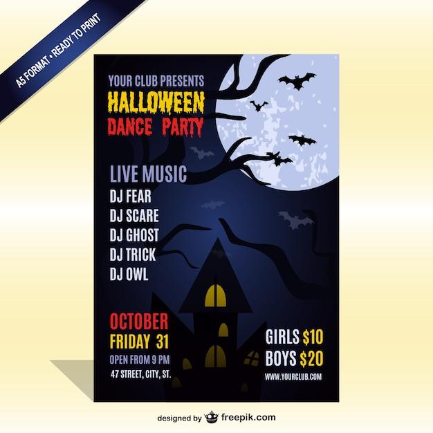 Halloween Party With Live Music Flyer Template Vector | Free Download