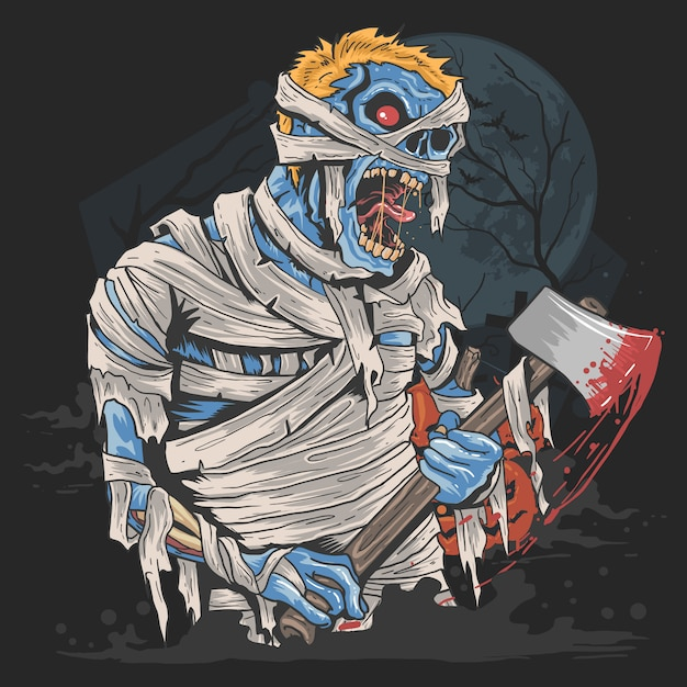 Halloween party with mummy zombie costume artwork Premium Vector