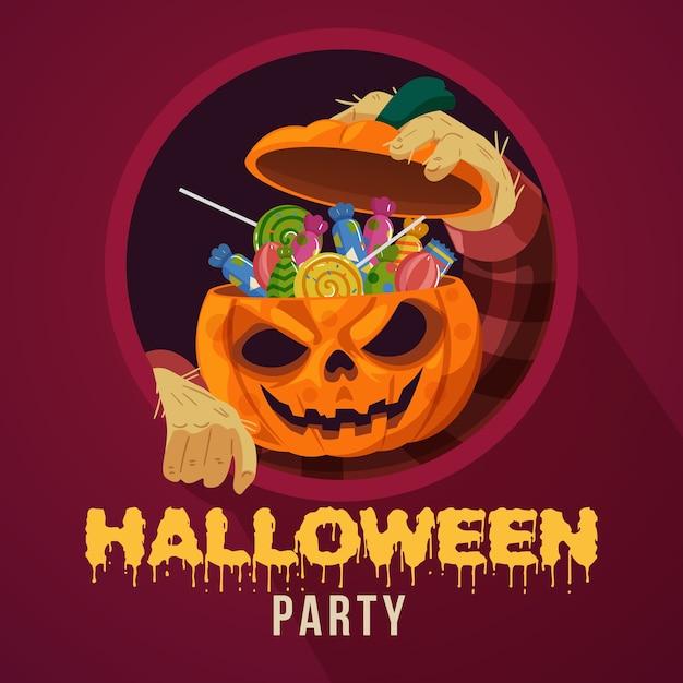 キャンディーでいっぱいのカボチャの頭を持つハロウィーンパーティー Premiumベクター