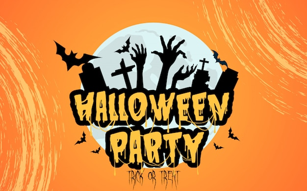 Halloween party with spooky gravestone Premium Vector