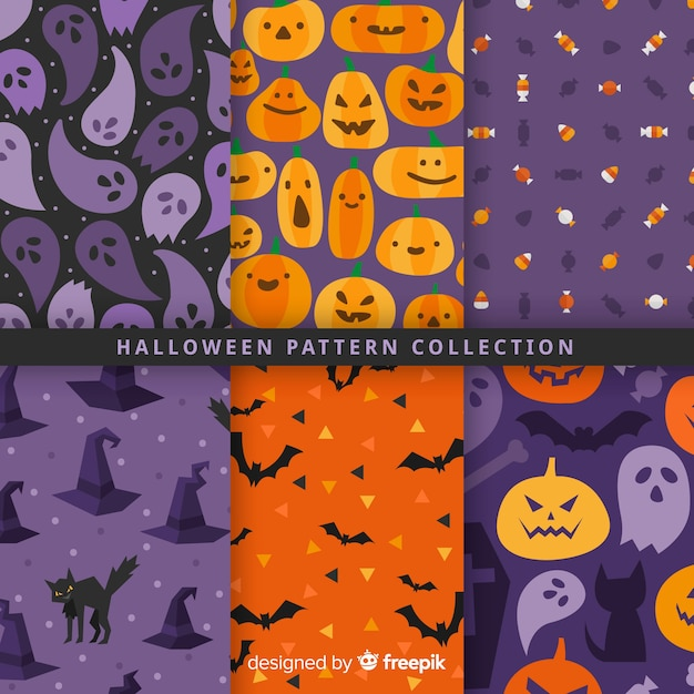Halloween pattern collection in flat design Free Vector