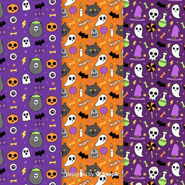 Halloween pattern collection hand drawn Free Vector