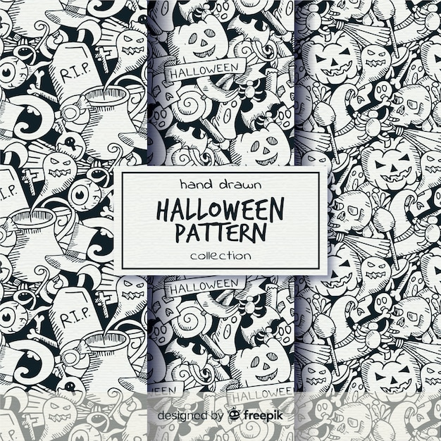 Halloween pattern collection in hand drawn style in black and white Free Vector