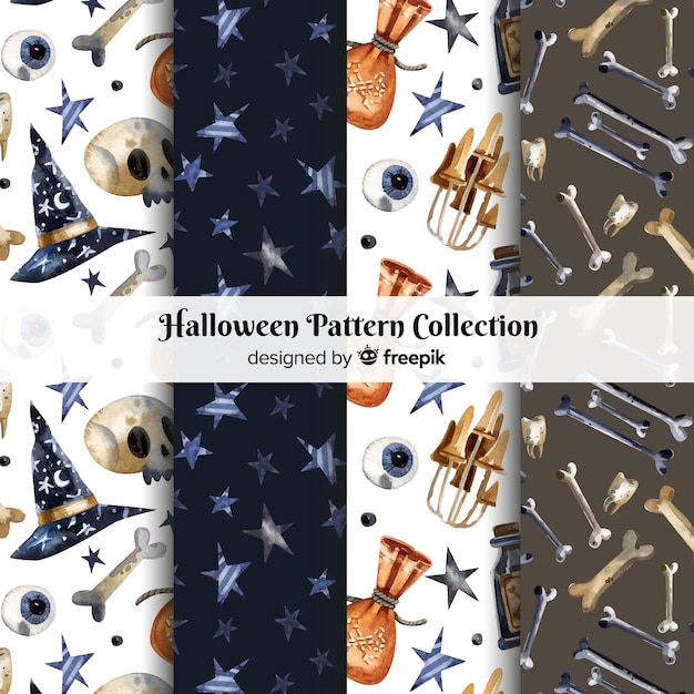 Halloween pattern collection in watercolor style Free Vector