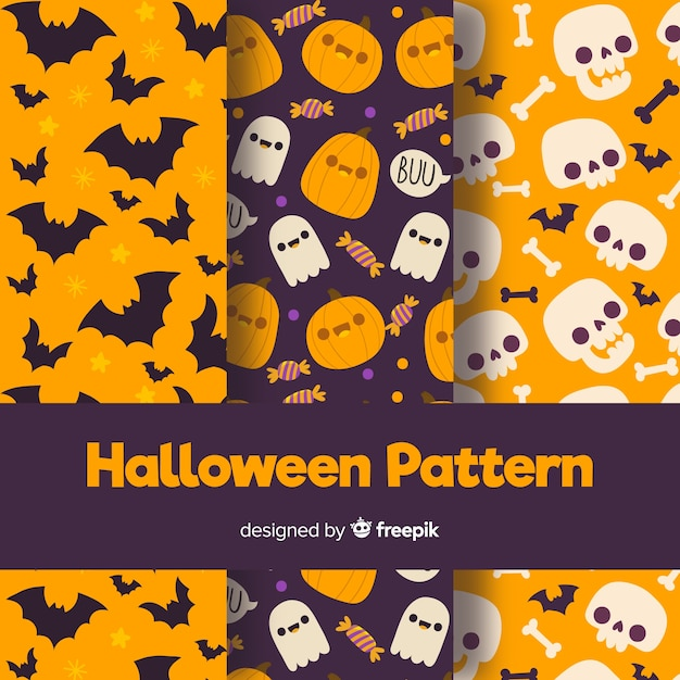 Halloween pattern collection with flat design Free Vector
