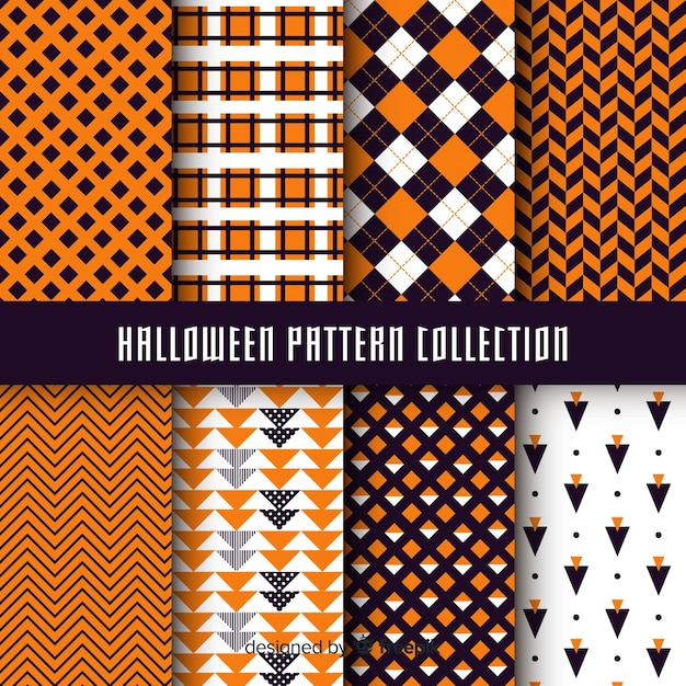 Halloween pattern collection with geometric design Free Vector