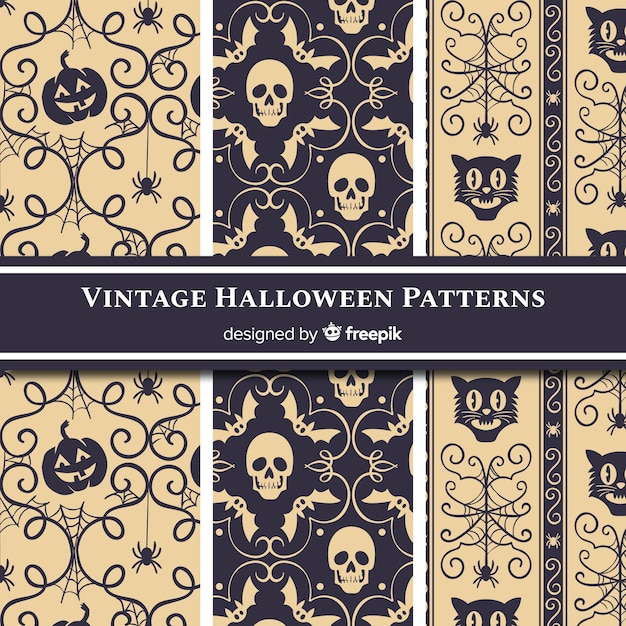 Halloween pattern collection with vintage style Free Vector