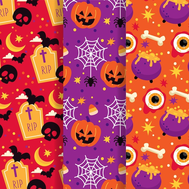 Хэллоуин коллекция шаблонов Бесплатные векторы