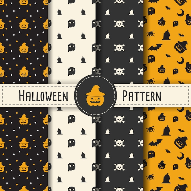 halloween pattern set background for halloween party night. Black Bedroom Furniture Sets. Home Design Ideas