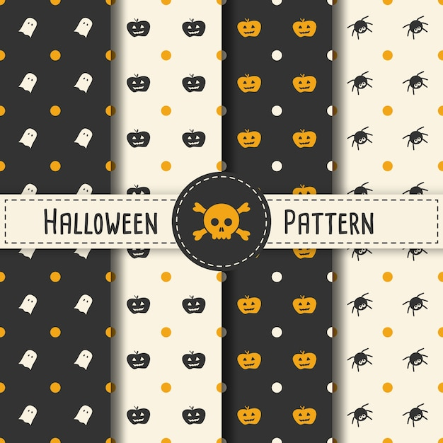 Хэллоуин шаблон установить фон для вечеринки хэллоуин. бесшовные шаблон хэллоуин вектор для отдыха с пауком и веб-баннер, плакат, поздравительные открытки, партия приглашение иллюстрации. Premium векторы